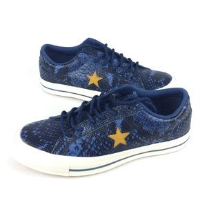 Converse One Star Ox Snake Skin Blue Shoes Sneaker